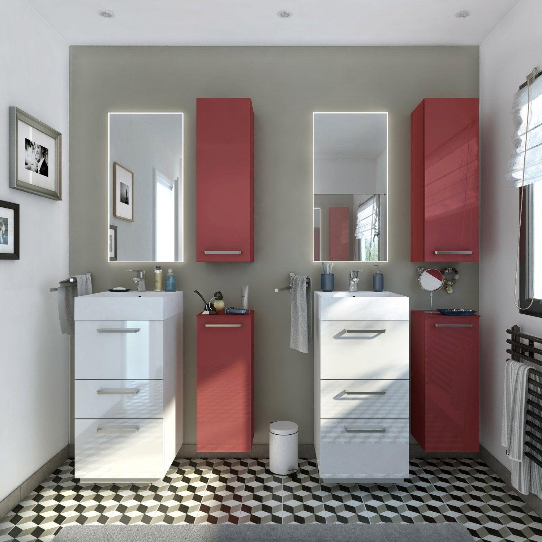 Meuble de salle de bains moins de 60 blanc beige for Meuble de salle de bain chez leroy merlin