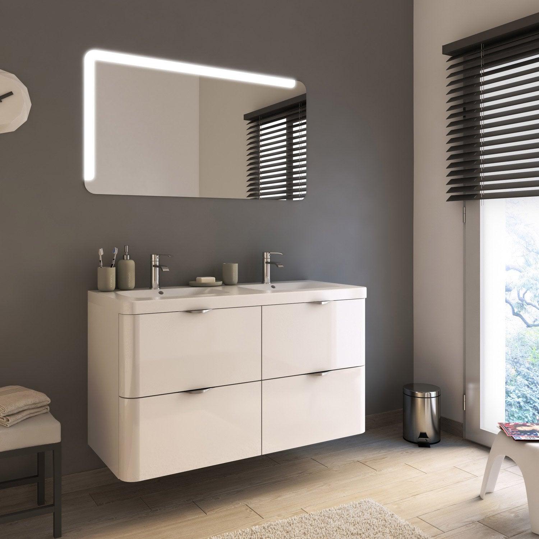 Meuble de salle de bains plus de 120 blanc neo shine for Meuble salle de bain 120 leroy merlin