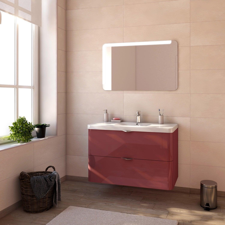 Meuble de salle de bains de 100 119 rouge neo shine for Meuble salle de bain rouge leroy merlin