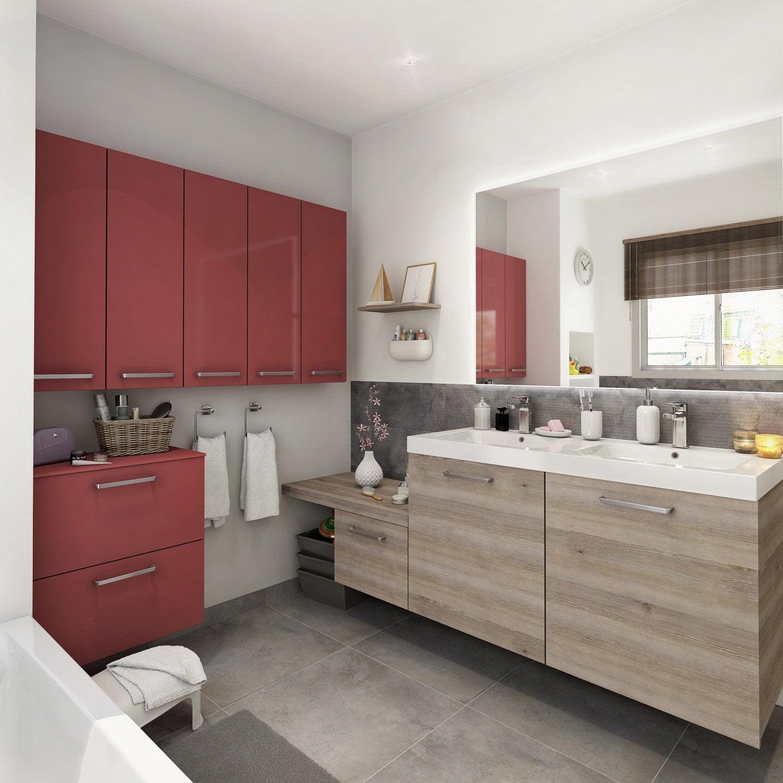 Meuble de salle de bains plus de 120 brun marron neo for Meuble salle de bain rouge leroy merlin