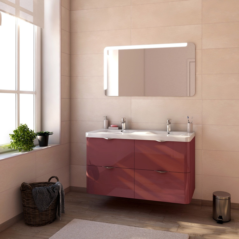 Meuble de salle de bains plus de 120 rouge neo shine - Salle de bain leroy merlin meuble ...