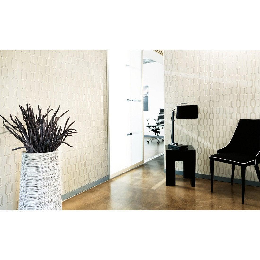 papier peint g om trique blanc et gris intiss ap 2000 leroy merlin. Black Bedroom Furniture Sets. Home Design Ideas