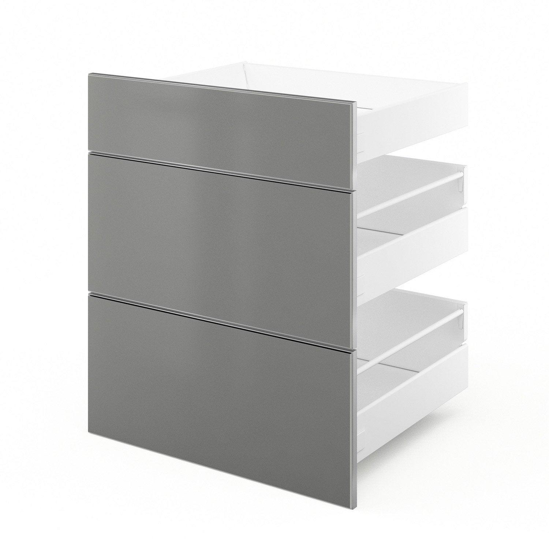 3 tiroirs de cuisine gris 3d60 frost l60 x h70 x p55 cm leroy merlin - Facade de cuisine leroy merlin ...