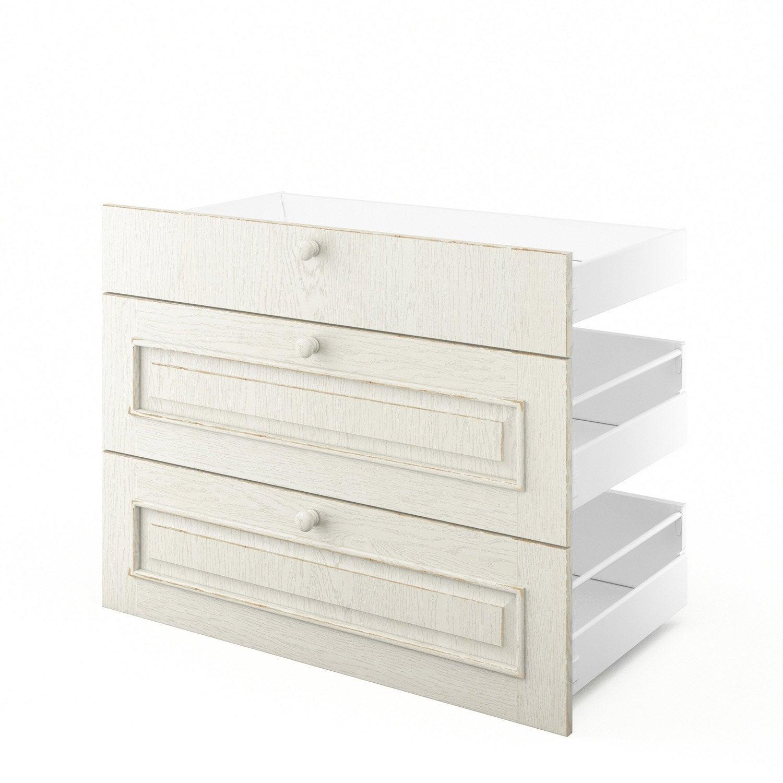 3 tiroirs de cuisine blanc 3d90 cosy l90xh70xp55 cm for Rideaux cuisine 70 x 90