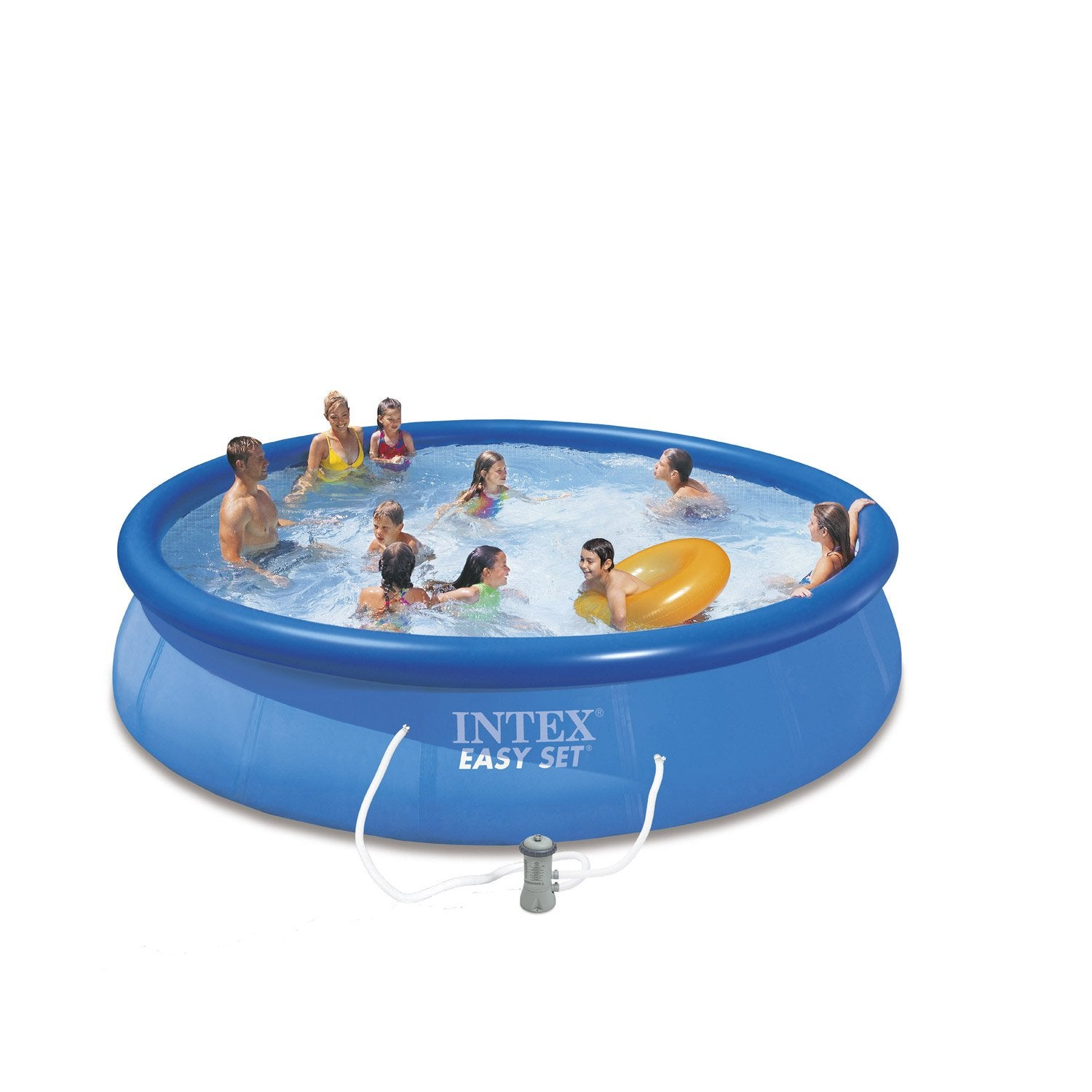 Piscine hors sol autoportante gonflable easy set intex for Pompe piscine hors sol carrefour