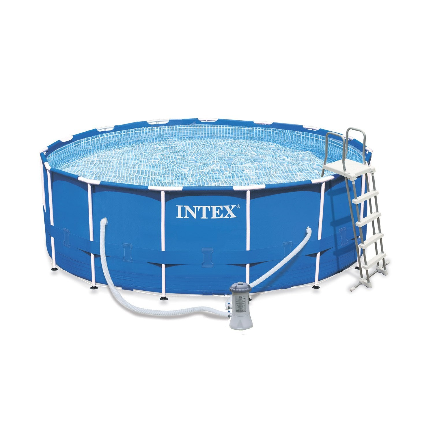 Piscine hors sol autoportante tubulaire metal frame intex diam x h m leroy merlin for Piscine hors sol metal