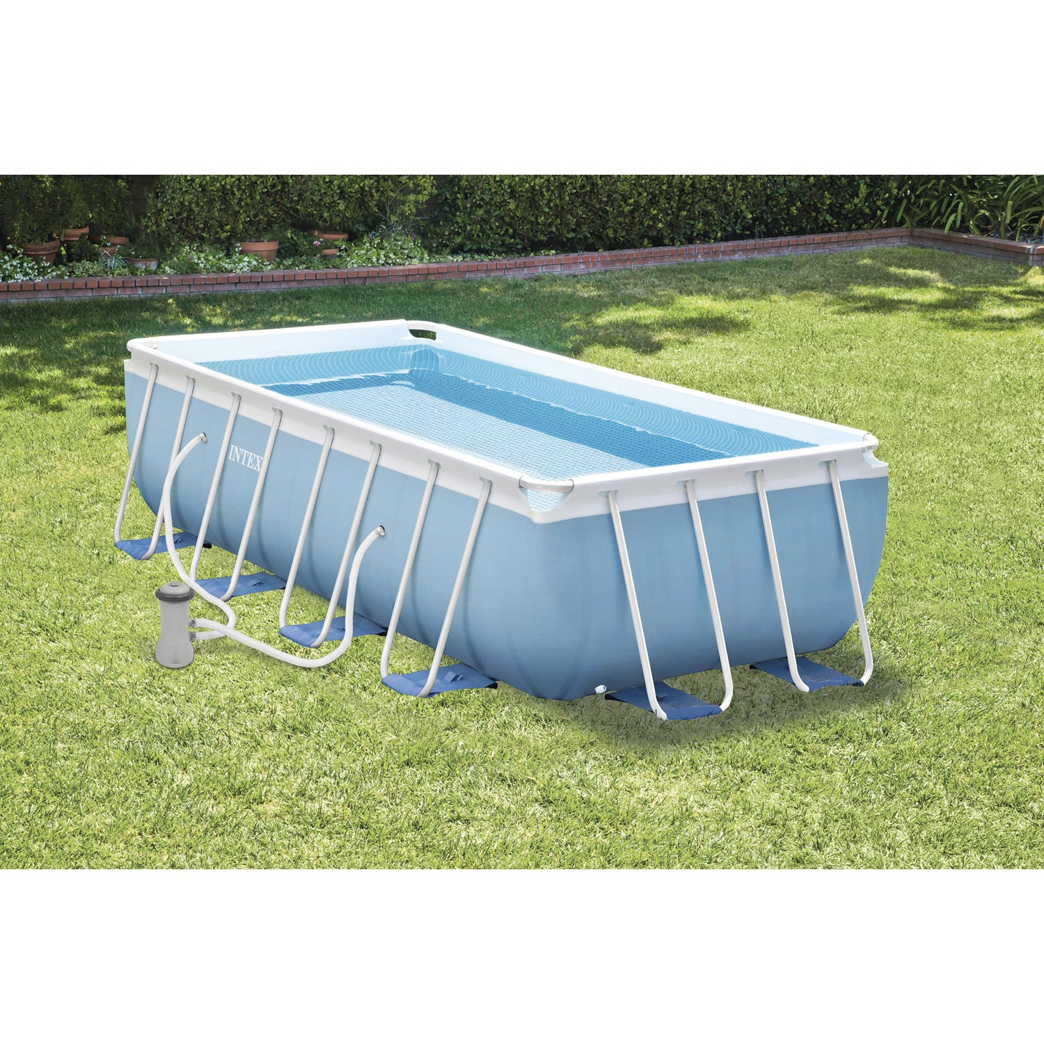 Piscine hors sol autoportante tubulaire prism frame intex for Margelle piscine hors sol leroy merlin