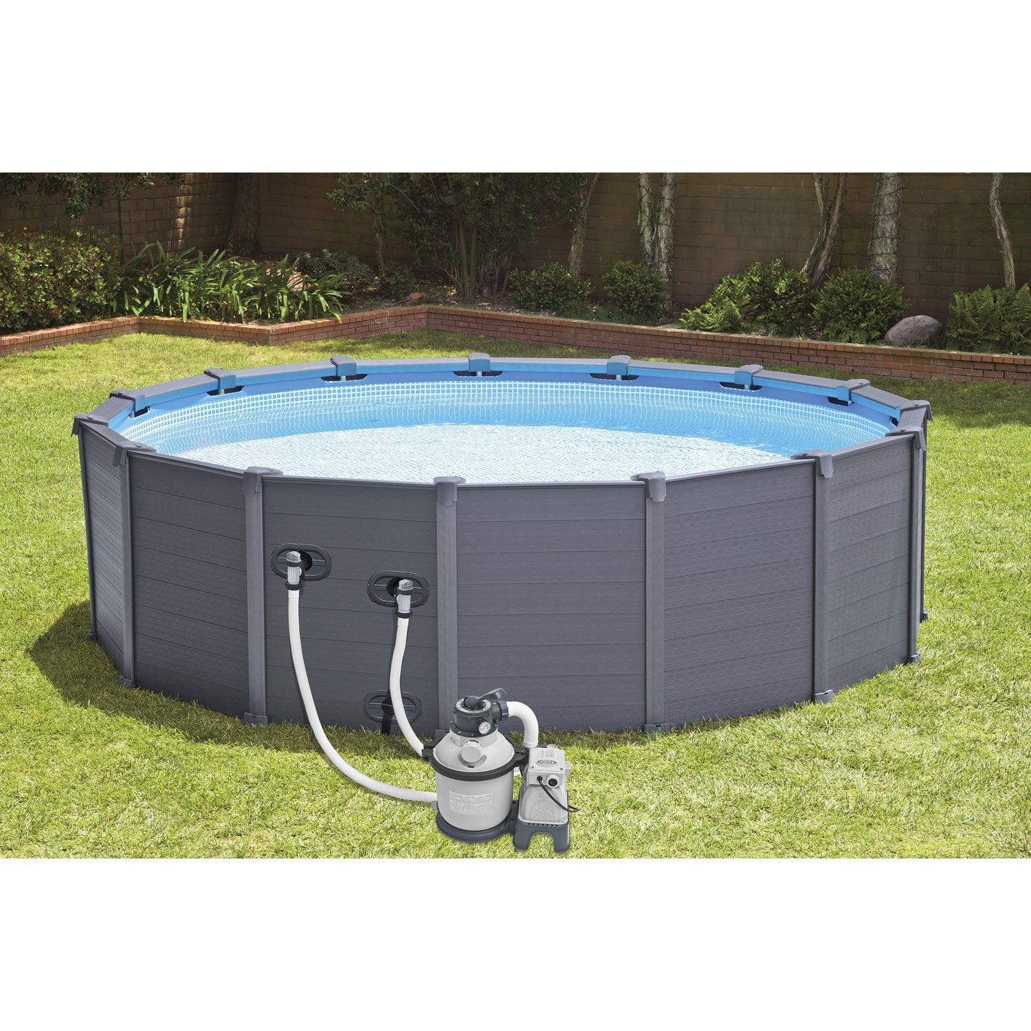 Piscine hors sol autoportante tubulaire graphite intex for Piscine semi enterree leroy merlin