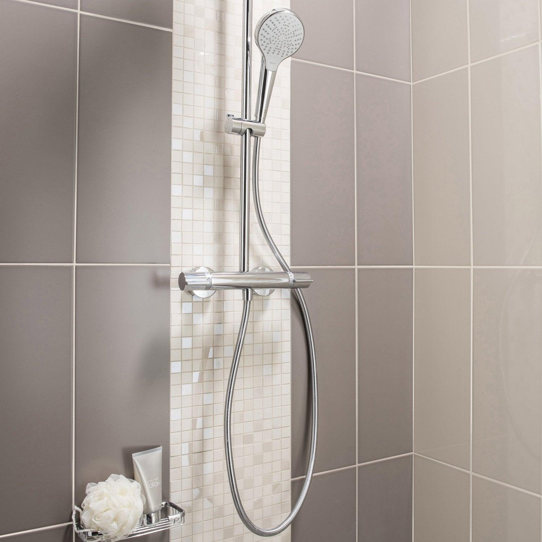 Fa ence mur brun taupe n 3 loft brillant x cm for Carrelage salle de bain brillant