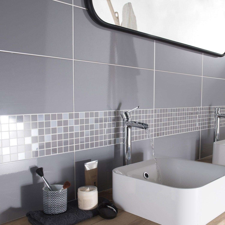 Fa ence mur gris galet n 3 loft brillant x cm leroy merlin - Jolie salle de bain italienne ...