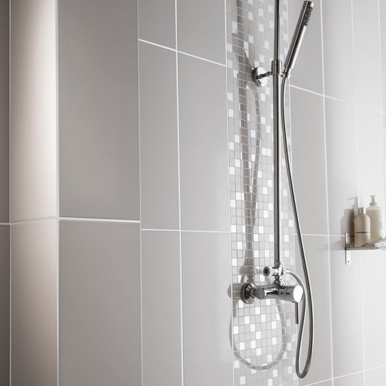 Fa ence mur gris galet n 5 loft brillant x cm leroy merlin - Faience grise salle de bain ...