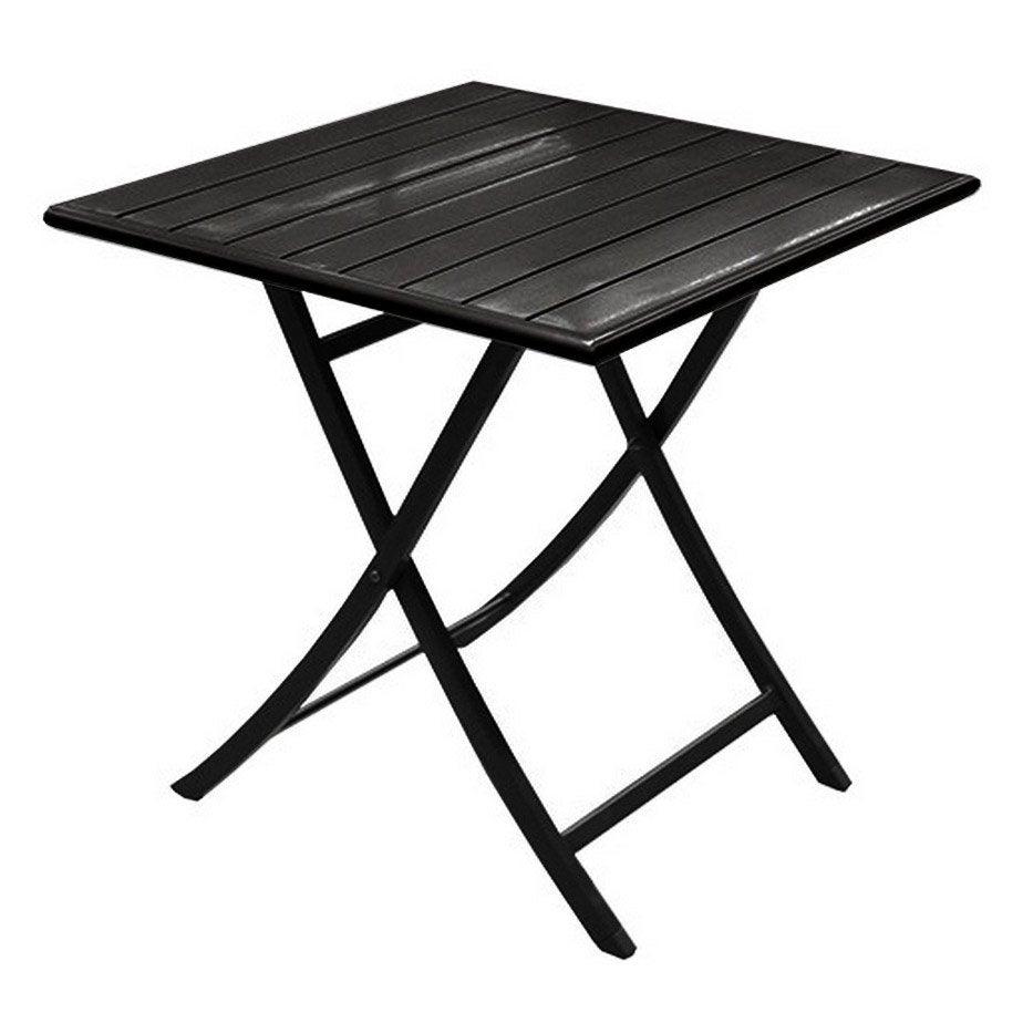 Table de jardin miami carr e noir 2 personnes leroy merlin - Table pliante de jardin leroy merlin ...