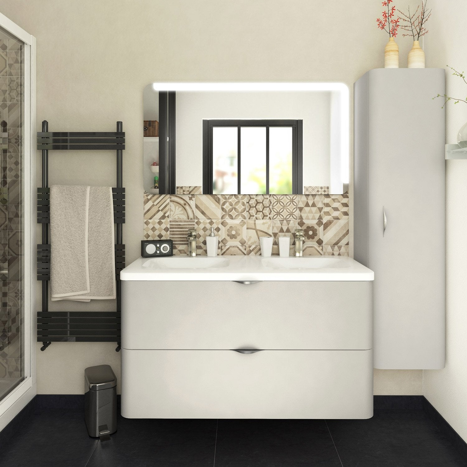 meuble de salle de bains plus de 120 blanc beige naturels neo shine leroy merlin. Black Bedroom Furniture Sets. Home Design Ideas
