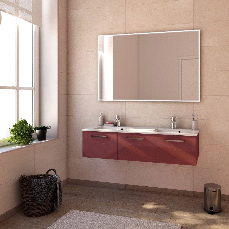 Meuble de salle de bains neo line rouge marsala brillant - Meuble salle de bain 135 cm ...