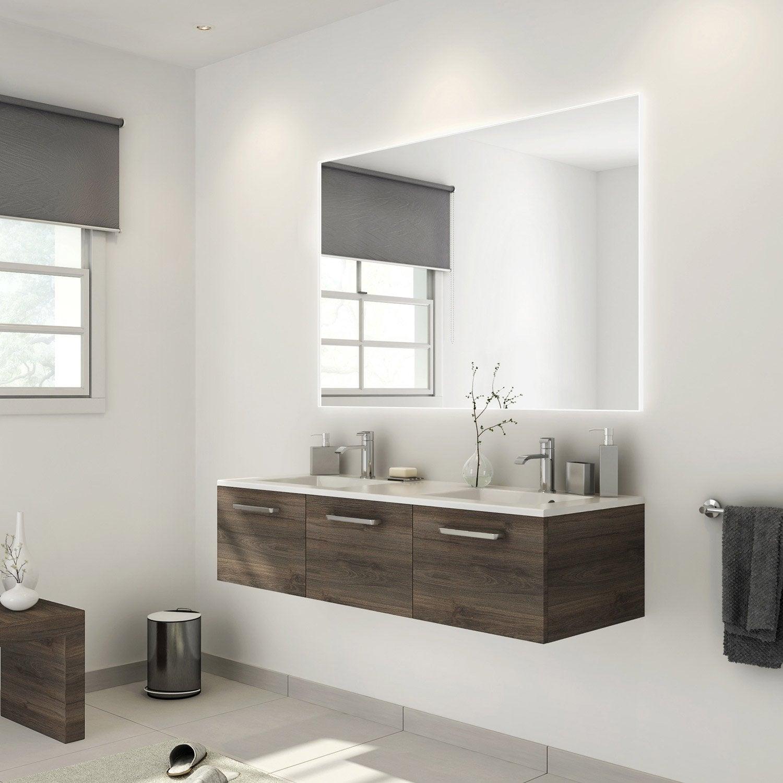 Meuble de salle de bains plus de 120 brun marron neo - Meuble neo leroy merlin ...