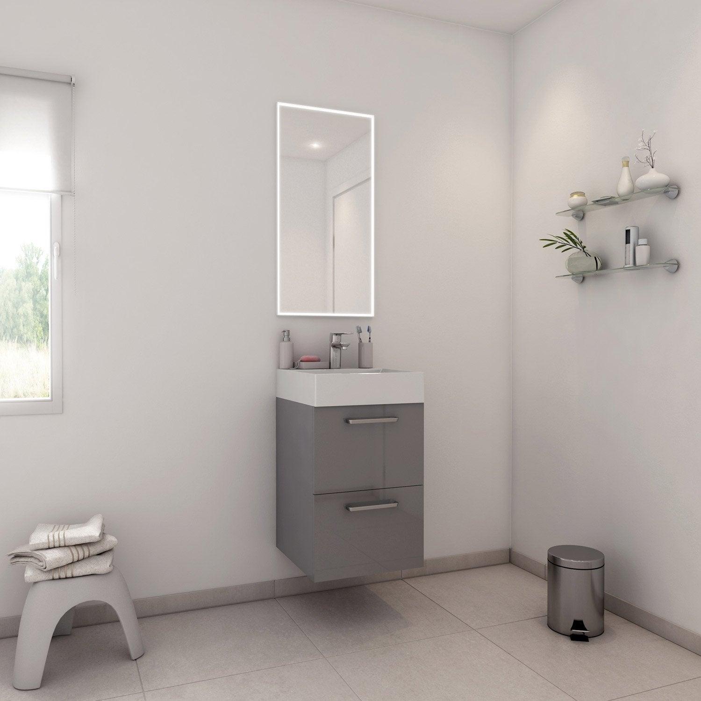 Meuble de salle de bains moins de 60 gris argent neo - Leroy merlin meuble salle de bain neo ...