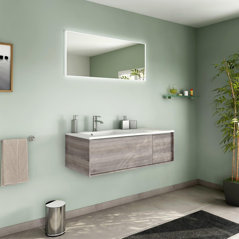 Meuble de salle de bains de 100 119 brun marron neo for Salle de bain 3m2 leroy merlin