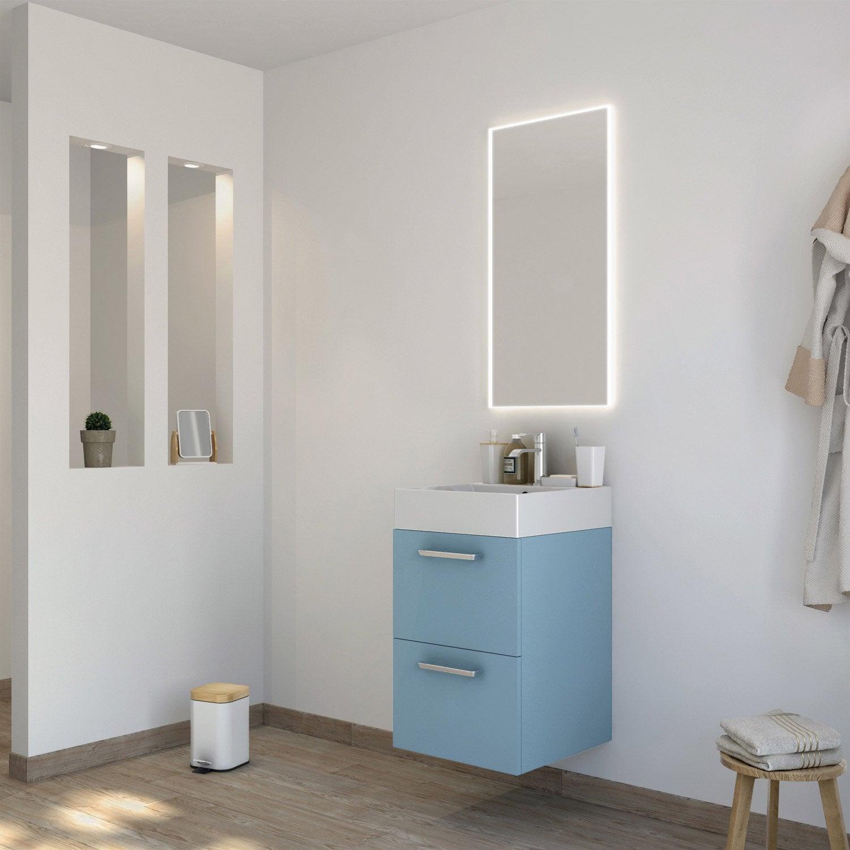 Meuble de salle de bains moins de 60 bleu neo line - Meuble salle de bain leroy merlin neo ...