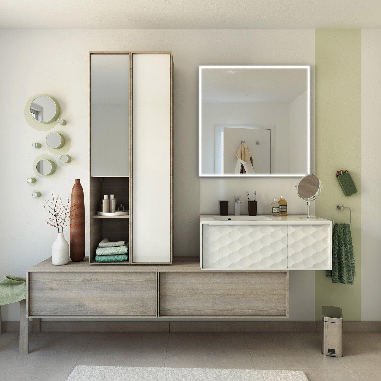 Meuble de salle de bains neo frame fa ade 3d mineral 90 cm - Meuble neo leroy merlin ...