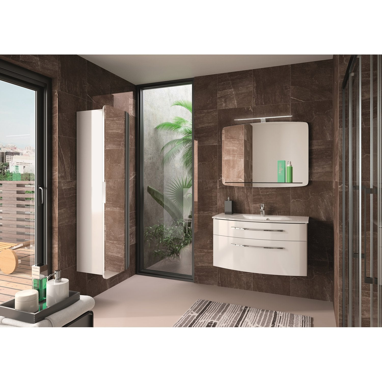 Meuble de salle de bains de 80 99 blanc image leroy Meuble salle de bain 80 cm leroy merlin