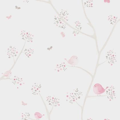 papier peint oiseau rose beige intiss little world. Black Bedroom Furniture Sets. Home Design Ideas