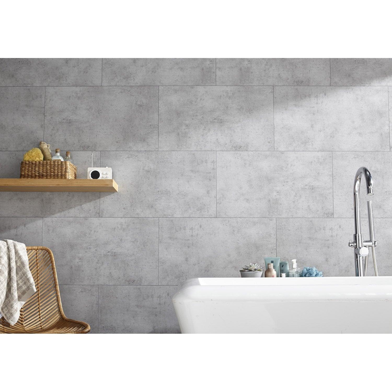 Dalle murale pvc gris clair x cm x ep 5 mm for Dalle murale pour salle de bain