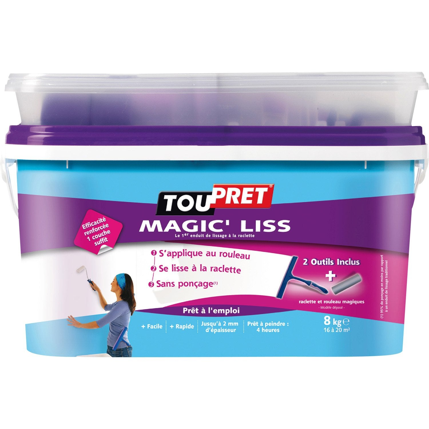 Enduit de lissage p te magic liss toupret 8 kg leroy merlin for Video enduit de lissage