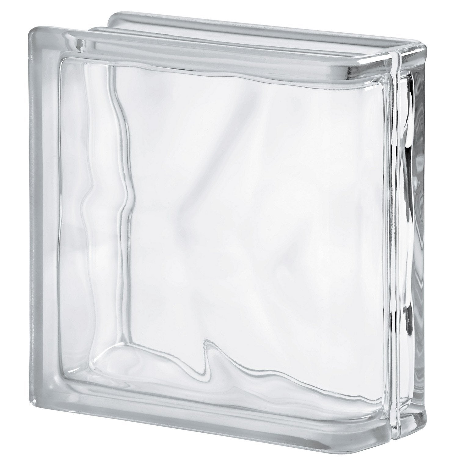 Brique de verre transparent ondul brillant leroy merlin for Mortier pour brique de verre