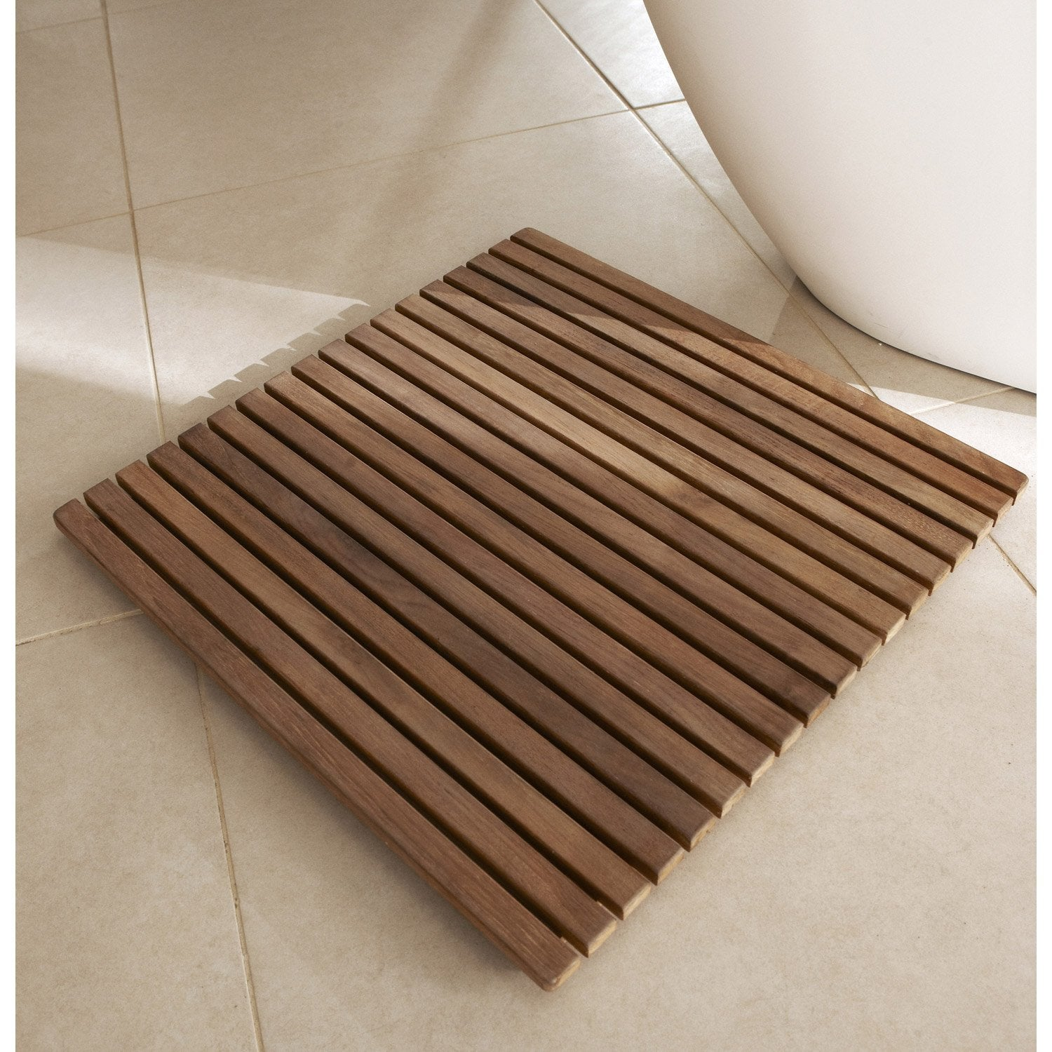 Caillebotis poser naturel teck leroy merlin for Carrelage 80x80 leroy merlin