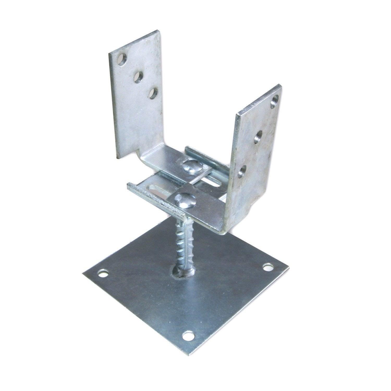 Support fixer acier fixer gris x l 6 5 x p 6 cm leroy merlin - Support metallique pour poteau bois ...
