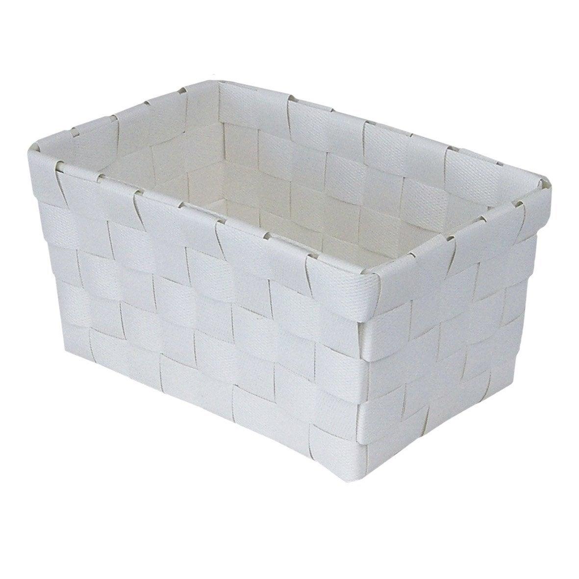 Panier en plastique blanc blanc 0 happy leroy merlin for Rangement salle de bain plastique