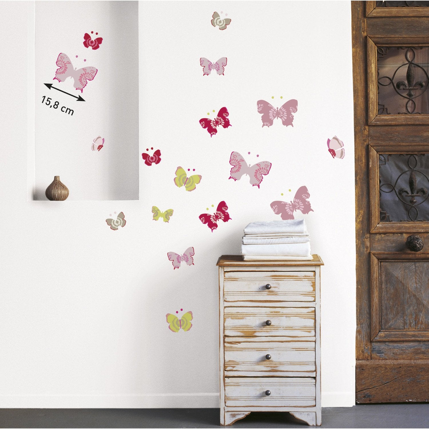 sticker papillons color 24 cm x 69 5 cm leroy merlin. Black Bedroom Furniture Sets. Home Design Ideas