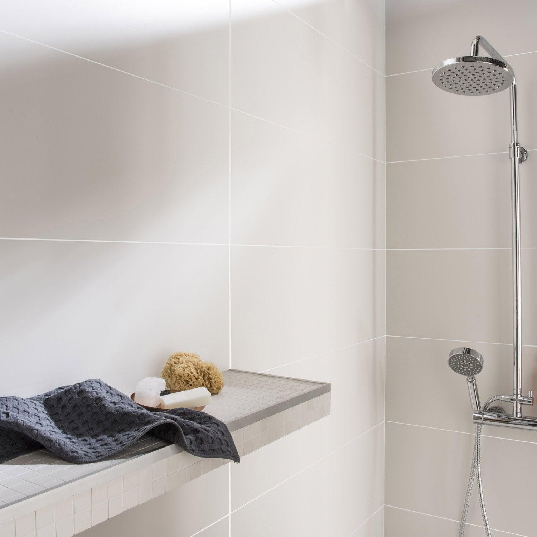 Fa ence mur blanc mat purity x cm leroy merlin for Faience mur blanc