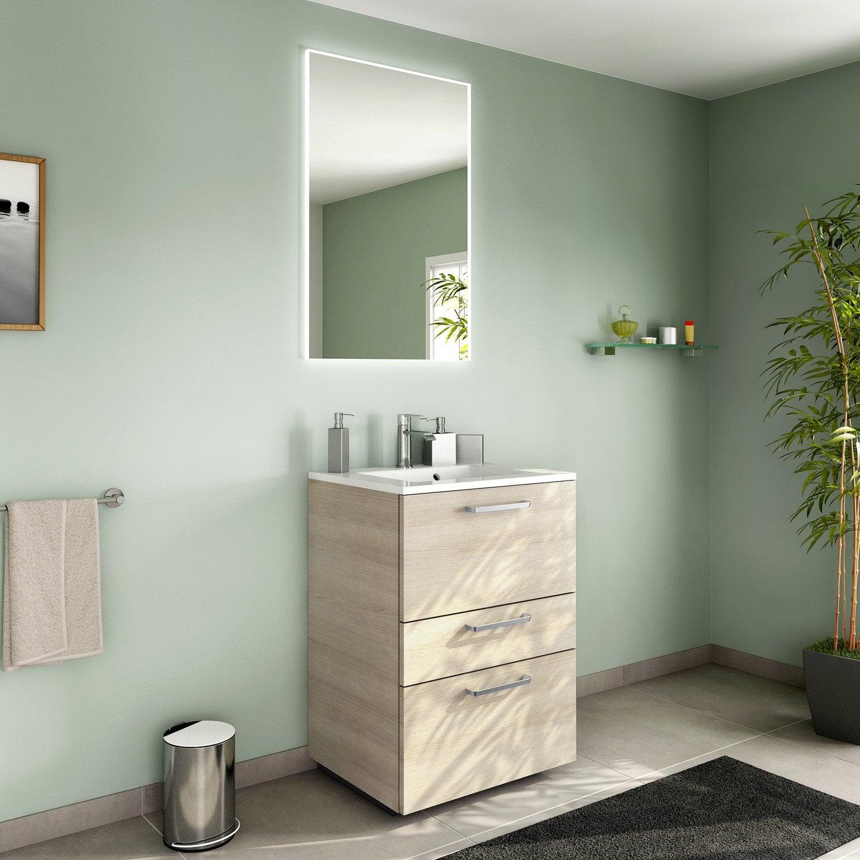 Meuble de salle de bains de 60 79 brun marron neo line leroy merlin - Salle de bain leroy merlin neo ...