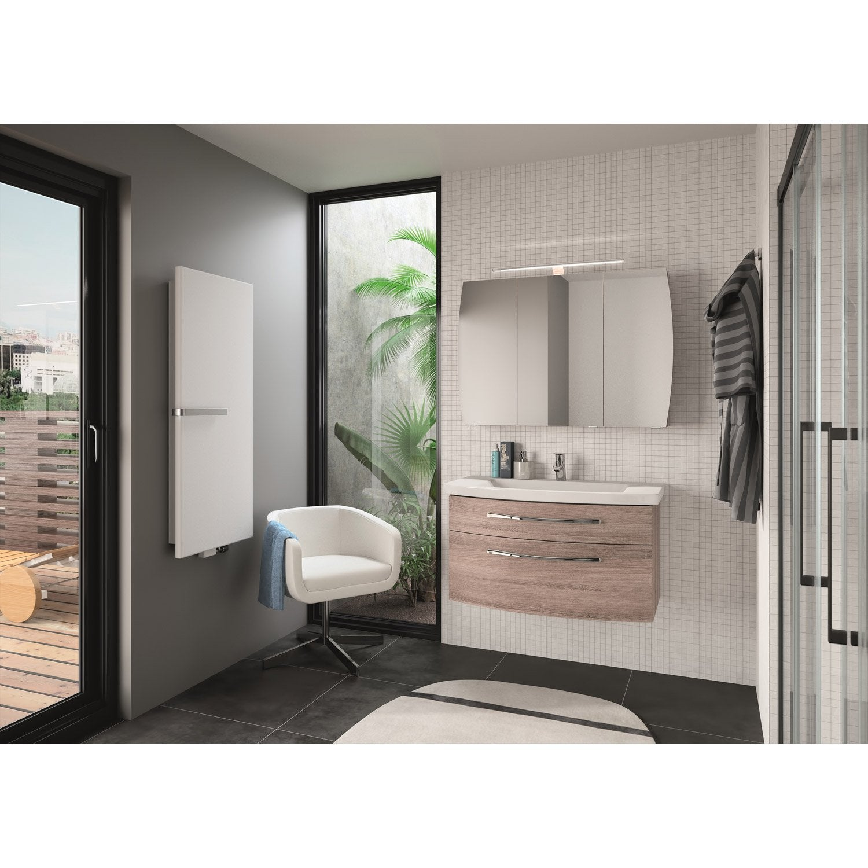 Meuble de salle de bains de 80 99 brun marron image - Stratifie salle de bain leroy merlin ...