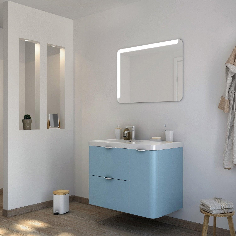 Meuble de salle de bains neo shine bleu glacier 3 mat 90 for Meuble salle de bain 90 cm leroy merlin