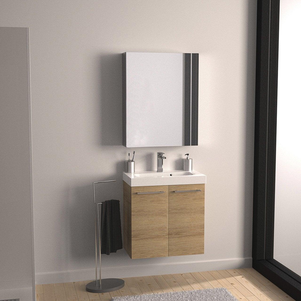Meuble De Salle De Bains De à Marron Remix Leroy Merlin - Leroy meuble salle de bain pour idees de deco de cuisine