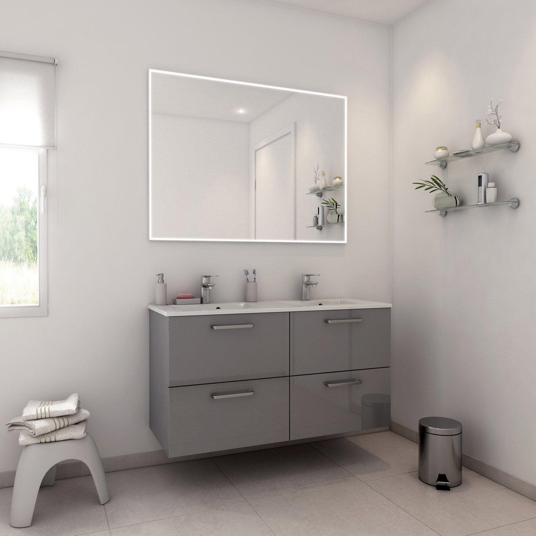Meuble de salle de bains plus de 120 gris argent neo - Reemaillage baignoire leroy merlin ...
