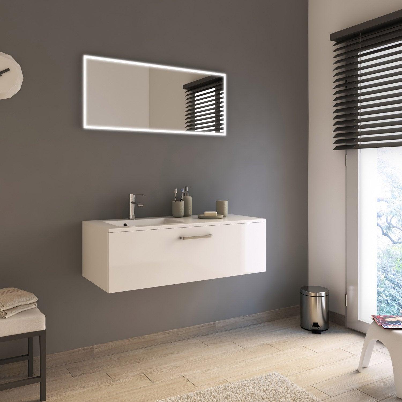 meuble de salle de bains neo line blanc brillant 105 cm leroy merlin. Black Bedroom Furniture Sets. Home Design Ideas
