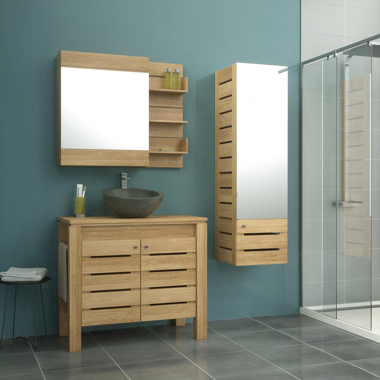 Meuble de salle de bains de 80 à 99, marron, Moorea | Leroy Merlin