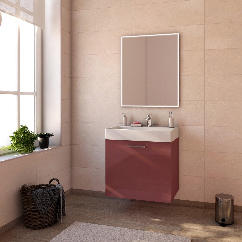Meuble de salle de bains de 60 79 rouge neo line - Meuble neo leroy merlin ...