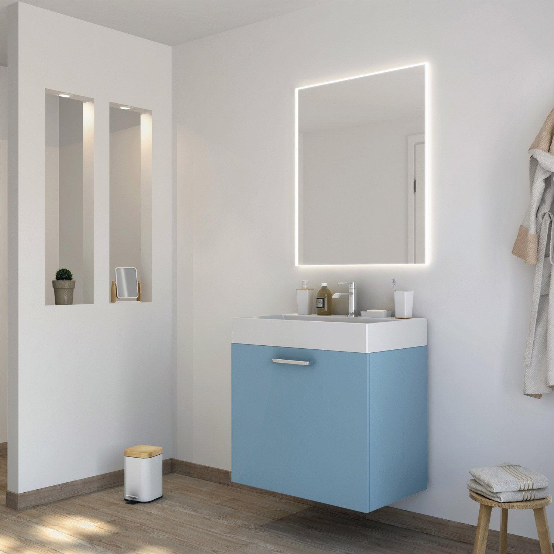 Meuble de salle de bains neo line bleu glacier 3 mat 75 cm for Meuble salle de bain 75 cm