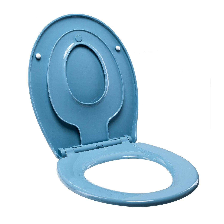 Abattant frein de chute d clipsable bleu plastique thermodur sensea familia - Bleu de travail leroy merlin ...