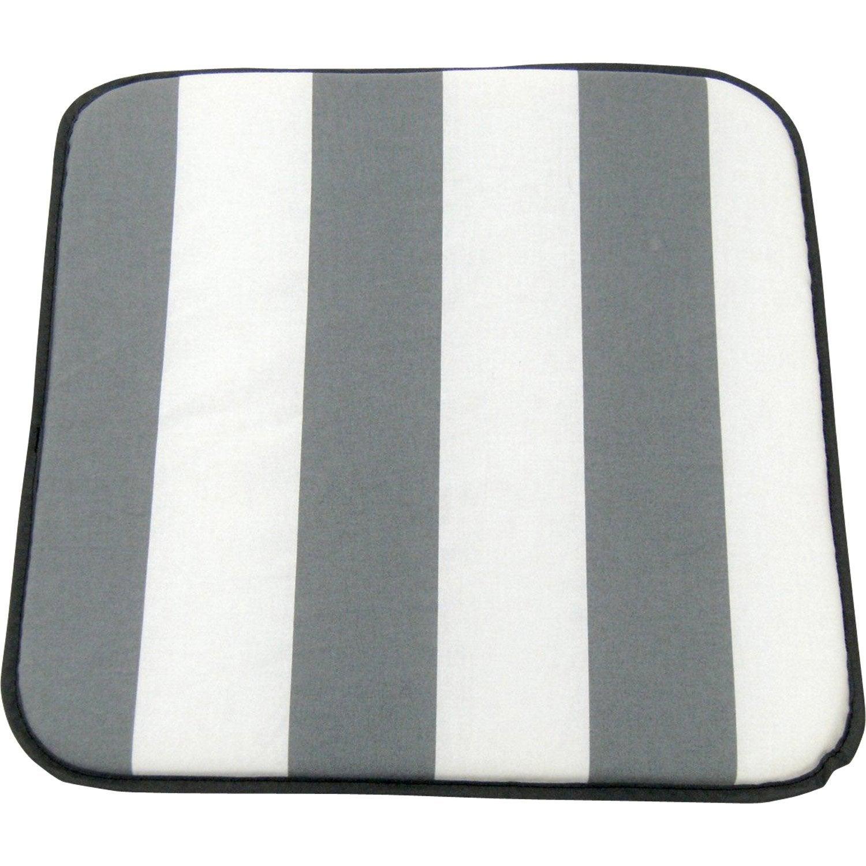 coussin d 39 assise de chaise ou de fauteuil jardin prive evy rayure blanc gris leroy merlin. Black Bedroom Furniture Sets. Home Design Ideas