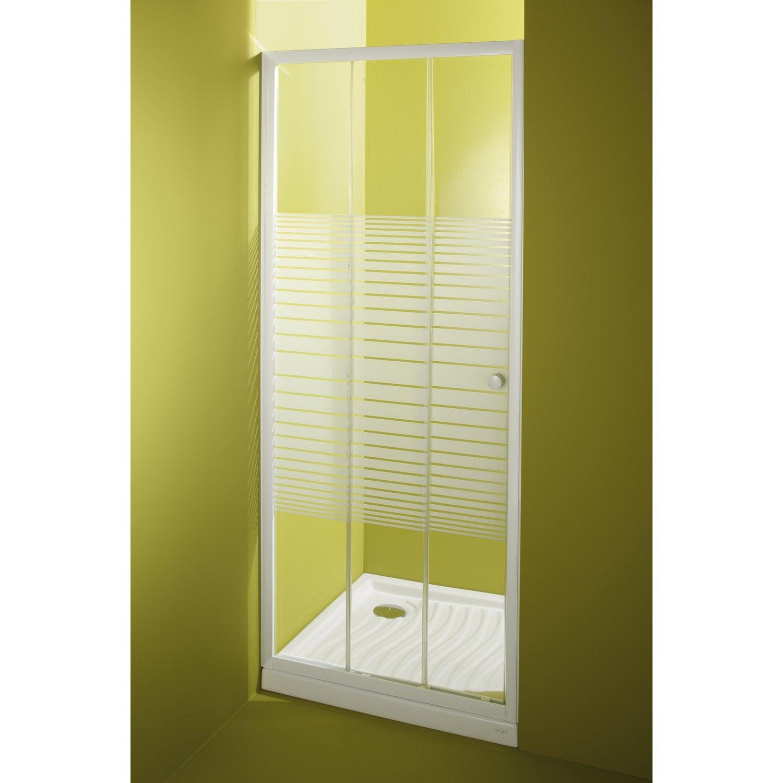 Porte de douche coulissante primo verre de s curit - Leroy merlin porte en verre ...