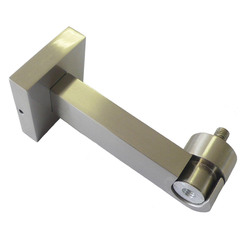 Support plat pour barre rideau nickel mat aluminium - Support barre rideau ...