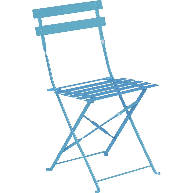 Chaise de jardin en acier flore bleu leroy merlin - Chaise de bureau leroy merlin ...