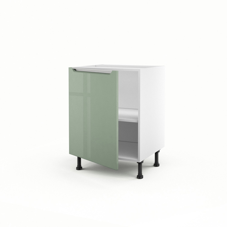 Meuble de cuisine bas vert 1 porte milano h70xl60xp56 cm - Bas de porte leroy merlin ...
