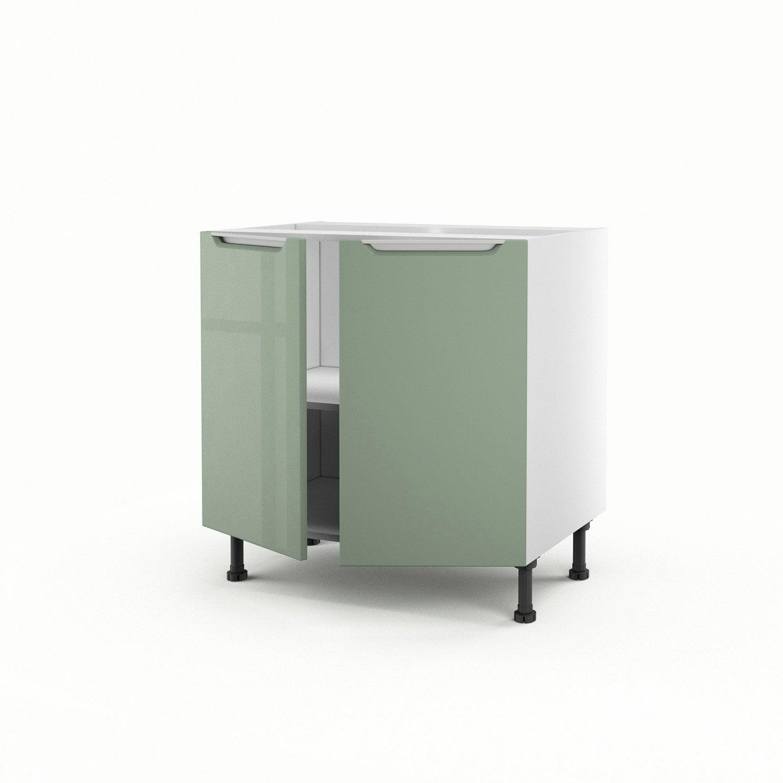 Meuble De Cuisine Bas Vert 2 Portes Milano H70xl80xp56 Cm