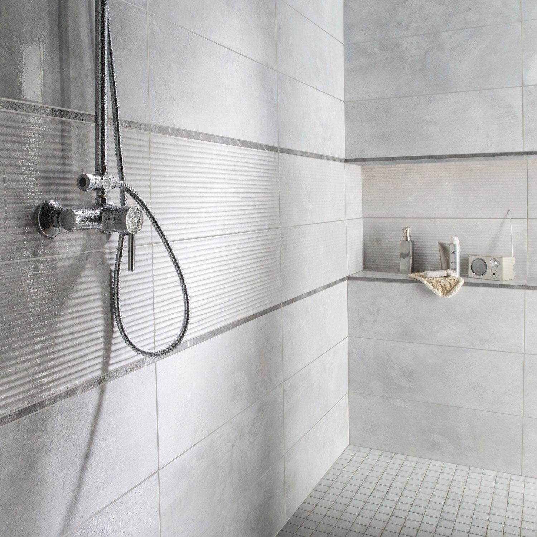 Fa ence mur gris brume live x cm leroy merlin - Frise murale carrelage salle de bain ...